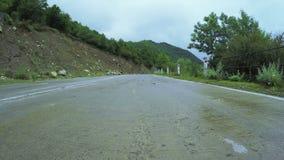 Mountain road turn stock footage