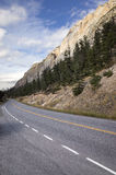 Mountain road under majestic rocky cliffs. View along a deserted mountain road lined with evergreen pine trees under majestic rocky cliffs Stock Photography