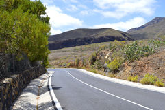 Mountain road up to Mount Teide in Tenerife Royalty Free Stock Images