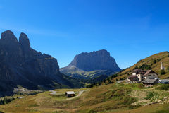 Mountain road in the valley. Of the Dolomites, Italy Royalty Free Stock Image