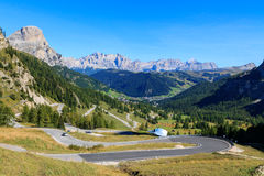 Mountain road in the valley. Of the Dolomites, Italy Stock Photos