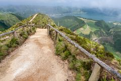 Mountain road with a view of the landmark lake. Portugal, Azores, Sao Miguel stock photography