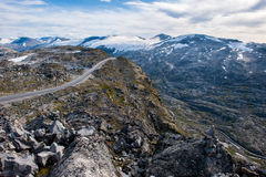 Mountain road, way to Dalsnibba view point to Geiranger fjord, Norway Stock Image