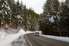 Mountain Road in Winter. North Cascades, Washington, USA Royalty Free Stock Image