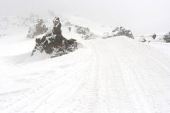 Mountain road in the winter Stock Photography