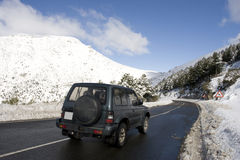 Mountain road in winter Royalty Free Stock Photo