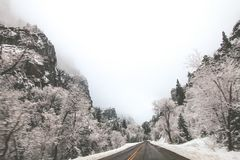 Mountain road in winter Stock Photography