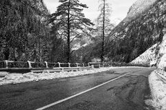 Mountain Road in Winter Stock Images