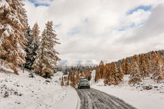 Mountain road in the winter Royalty Free Stock Image