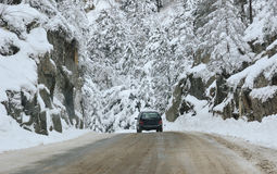 Mountain road in winter Stock Photo