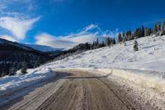 Mountain Road in Winter Stock Image