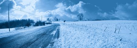 Mountain road in winter Royalty Free Stock Photos