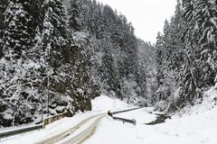 Mountain road in winter. With snow Stock Images