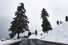 Mountain road in winter. With snow Stock Photo