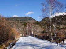 Mountain road at the winter in Takayama, Japan Stock Photos