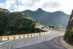 Mountain roads to wild beach. Tenerife. Stock Image