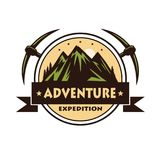Mountain Rock Climbing Adventure Logo Vector Template. Design Stock Image