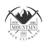 Mountain rock climbing centre resort logo. Mountain hiking, exploration labels, climbing sport activity badge Stock Images