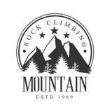 Mountain rock climbing logo. Mountain tourism, , exploration label. Mountain rock climbing logo. Mountain tourism, exploration label, climbing sport activity Royalty Free Stock Photo