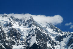 Mountain rock peaks and glacier Stock Photography
