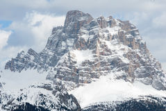 Mountain rock top summit peak winter snow, Marmolada Sella Dolomiti, Italy Royalty Free Stock Images