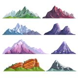 Mountain rocks or alpine mount hills nature flat isolated icons set. Mountain nature flat isolated icons. Vector set of alpine mountain rocks, mount peaks in Stock Images