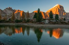 Mountain rocks and autumn trees reflected in water of Limides Lake at sunset, Dolomite Alps, Italy. Mountain rocks and autumn trees reflected in water of Limides Royalty Free Stock Photo