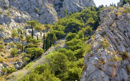 Mountain rocks landscape of Omis Stock Images