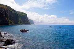 Mountain and rocks by the sea in Madeira Royalty Free Stock Images