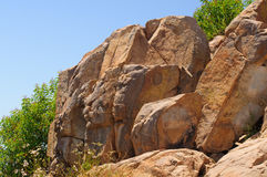 Mountain rocks in the summer sky Royalty Free Stock Photography