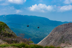Mountain ropeway, cable car Stock Photos
