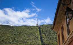 The mountain with ropeway and facade building Brasov Romania Stock Images