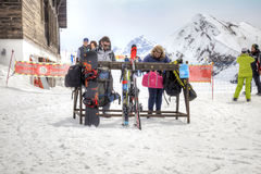 Mountain Rose Plateau. Place of maintenance of equipment. SOCHI, KRASNAYA POLYANA, RUSSIA - April 29.2015: Place of maintenance of ski equipment. People sort out Royalty Free Stock Image