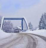 Mountain route in Austria with bridge Stock Photography