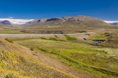Mountain route from Brunastadir village to Olafsfj Royalty Free Stock Photos