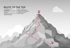 Mountain route infographic. Journey challenge path business goal career growth success climbing mission. Mountains path