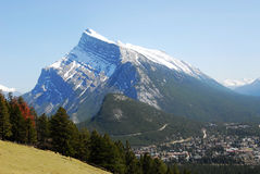 Mountain rundle and banff town Royalty Free Stock Photos