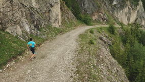 Mountain running marathon stock footage