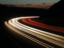 Mountain Rush Hour. Mountain pass night traffic on a busy suburban California freeway Royalty Free Stock Image