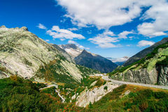Mountain's landscape with road in summer Switzerland Royalty Free Stock Photography