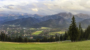 Mountain's panorama. Panoramic view of Tatra Mountains and Zakopane from Gubalowka Hill, Poland royalty free stock photos