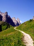 Mountain's path. A wonderful shot of a mountain's path in Dolomiti mountains Royalty Free Stock Image