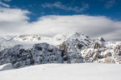 Mountain's peak hidden in cloud. Peak of a mountain covered in clouds Royalty Free Stock Image