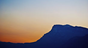 Mountain's silhuette at sunset royalty free stock photography