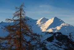 Mountain`s slope. Slope of one of the mountains in a Mont Blanc range, view from Les Arcs 1950 Royalty Free Stock Images