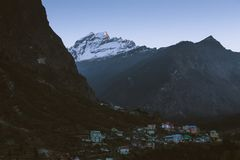 Mountain`s village in the morning with sunlight at Lachen in North Sikkim. India royalty free stock photography
