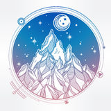 Mountain and sacred geomerty vector illustration Royalty Free Stock Image