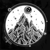 Mountain and sacred geomerty vector illustration Royalty Free Stock Photo