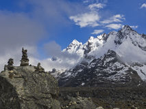 Mountain Salkantay. In Peru with small stone piles stock photos
