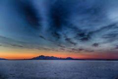The Mountain in Salt HDR. Sunset on the Bonneville Salt Flats in Utah Stock Photos